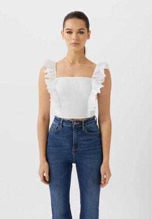 MIT SCHWEIZER STICKEREI  - Bluse - white