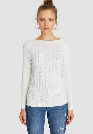 MIT ZOPFMUSTER  - Pullover - white