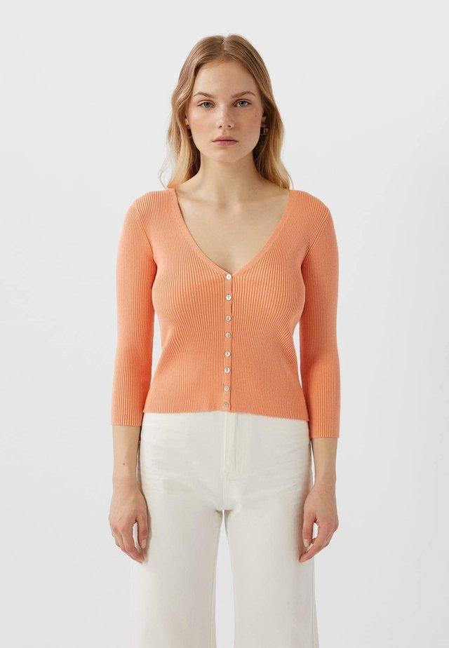 MIT 3/4 ÄRMEL  - Cardigan - orange