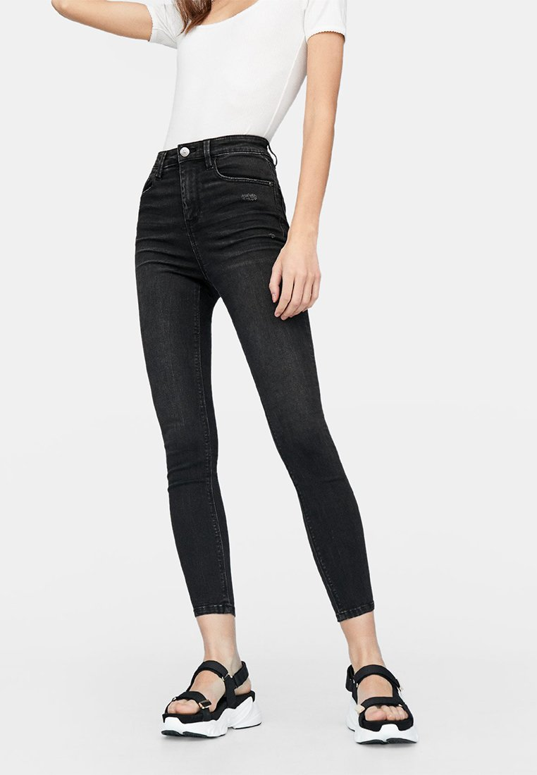 Stradivarius - HIGH WAIST  - Jeans Skinny Fit - black