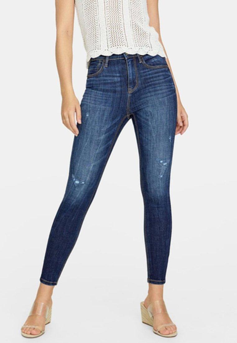 Stradivarius - MIT HOHEM BUND - Jeans Skinny Fit - dark blue