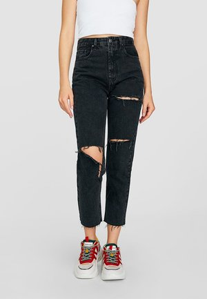 MOM-JEANS MIT RISSEN  - Jean droit - grey denim