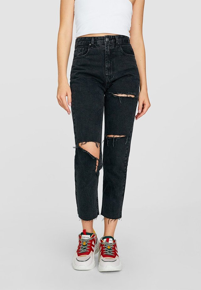 MOM-JEANS MIT RISSEN  - Straight leg jeans - grey denim