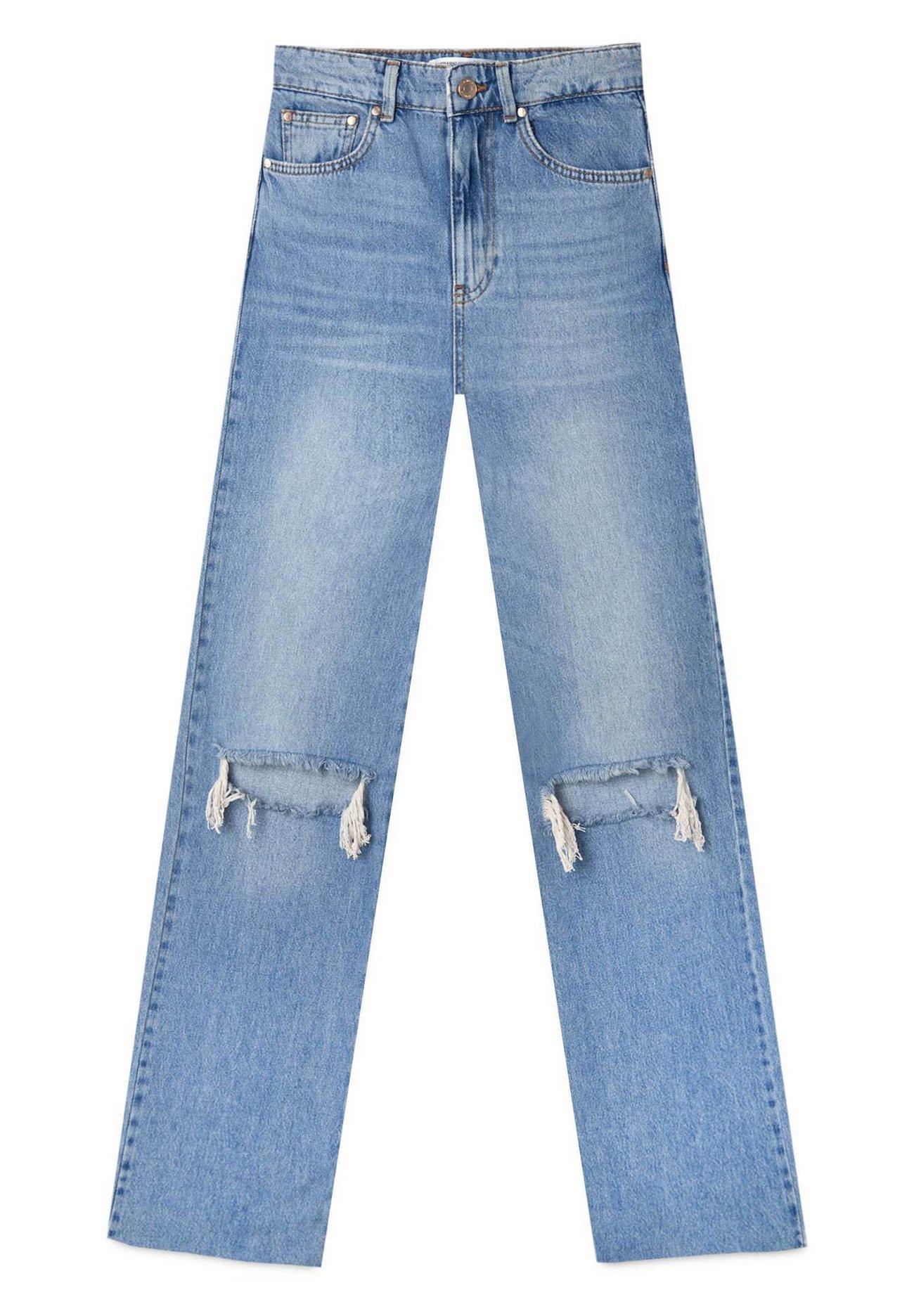 Stradivarius Jeans Straight Leg - Light Blue