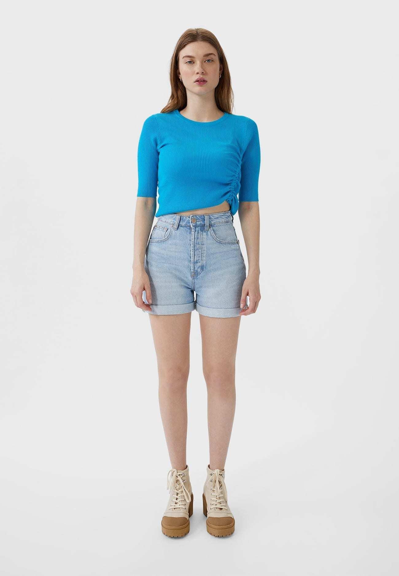 Stradivarius MOM-FIT - Denim shorts - dark blue