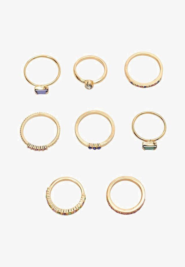6ER-SET RINGE MIT FARBIGEN GLASSTEINCHEN - Ringe - gold-coloured