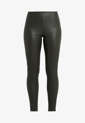 LENA - Leather trousers - green