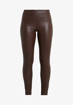 LENA - Leather trousers - brown