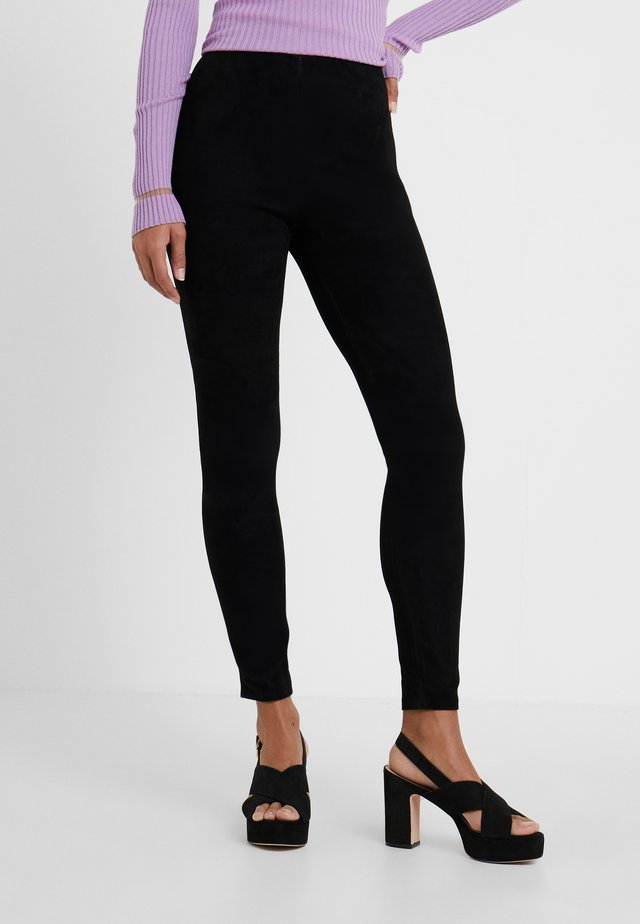 LENA SUEDE  - Leggings - black