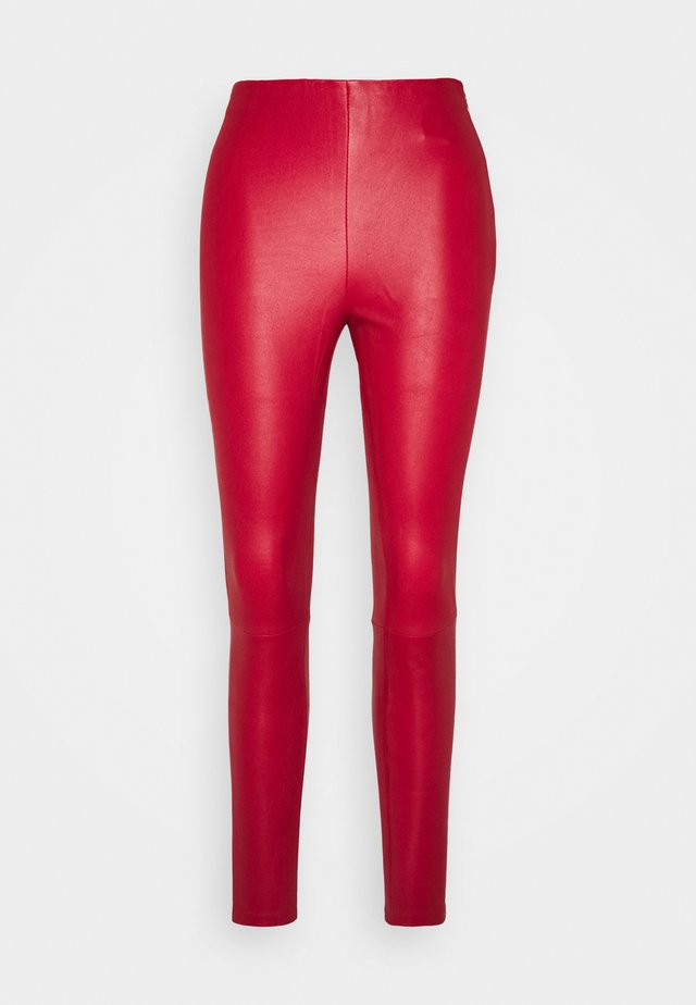 LENA  - Leather trousers - red
