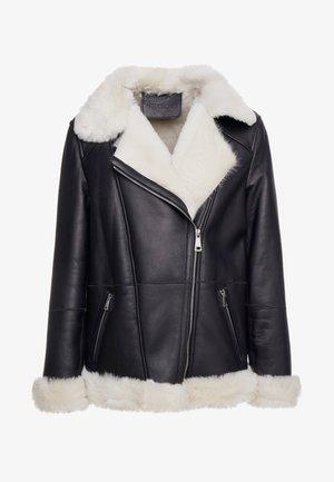 FREDA SHEARLNG JACKET - Kožená bunda - black/white