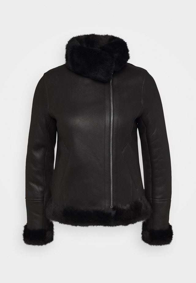 GINA SHEARLING JACKET - Leather jacket - black