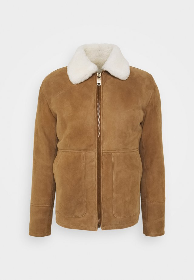 Leather jacket - camel/off white