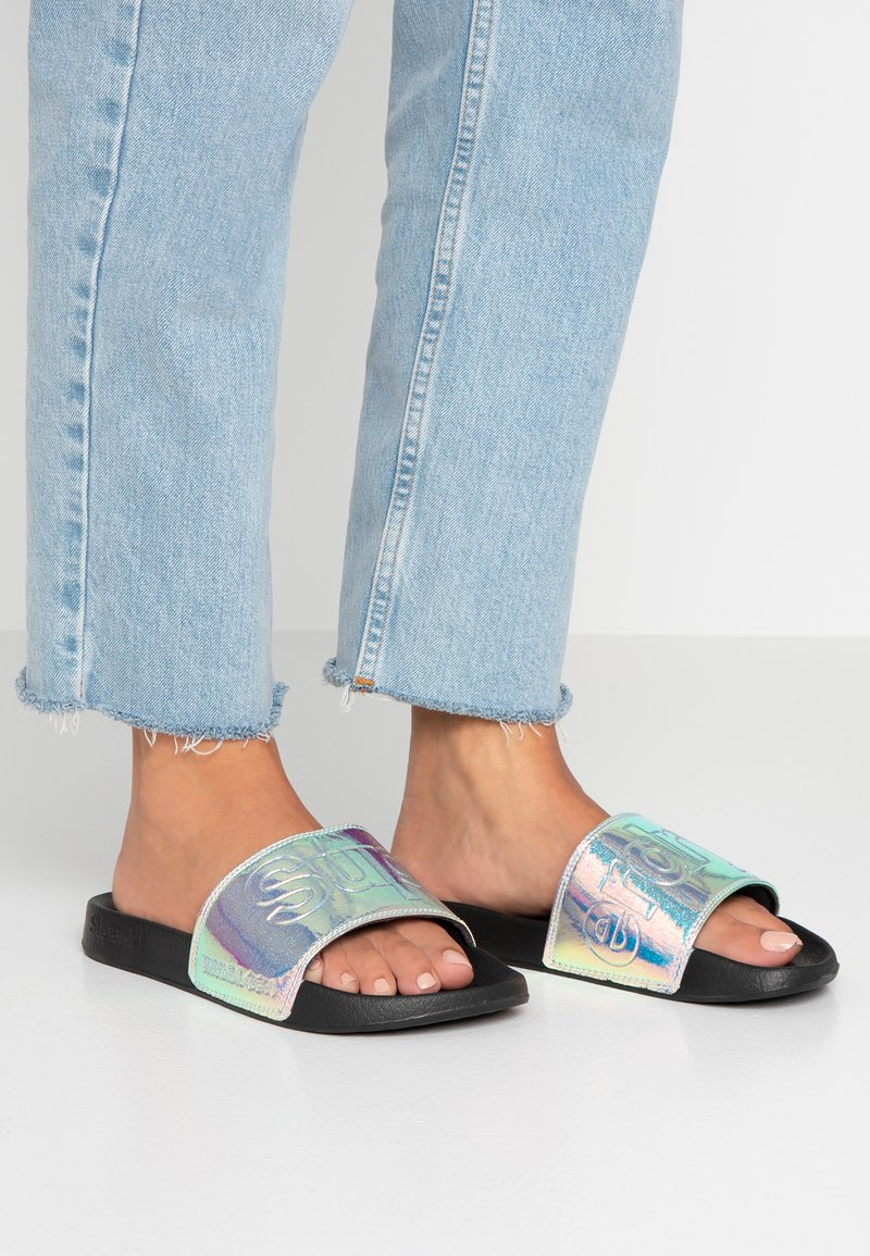 Superdry - HOLOGRAPHIC GLITTER POOL SLIDE - Mules - black