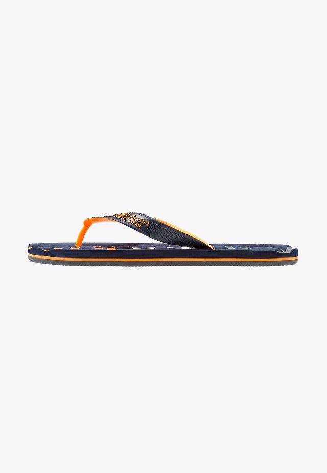 FADED LOGO - T-bar sandals - dark navy/fluro orange/charcoal