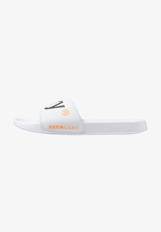 POOL SLIDE - Badsandaler - optic white/dark navy/hazard orange