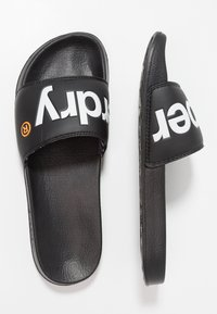 Superdry - POOL SLIDE - Badesandale - optic black/optic white/hazard orange - 1