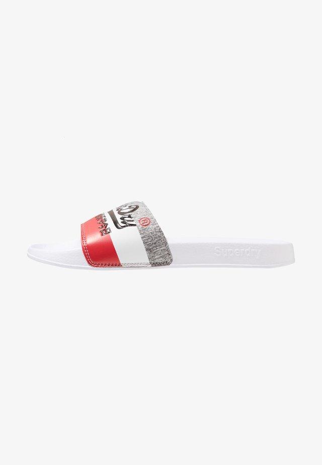 VINTAGE LOGO POOL SLIDE - Matalakantaiset pistokkaat - optic white/red/grey grit