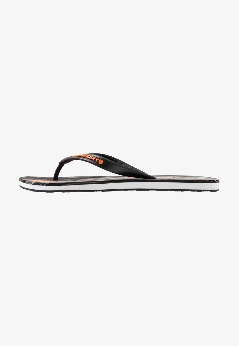 Superdry - INTERNATIONAL - T-bar sandals - black marble/hazard orange
