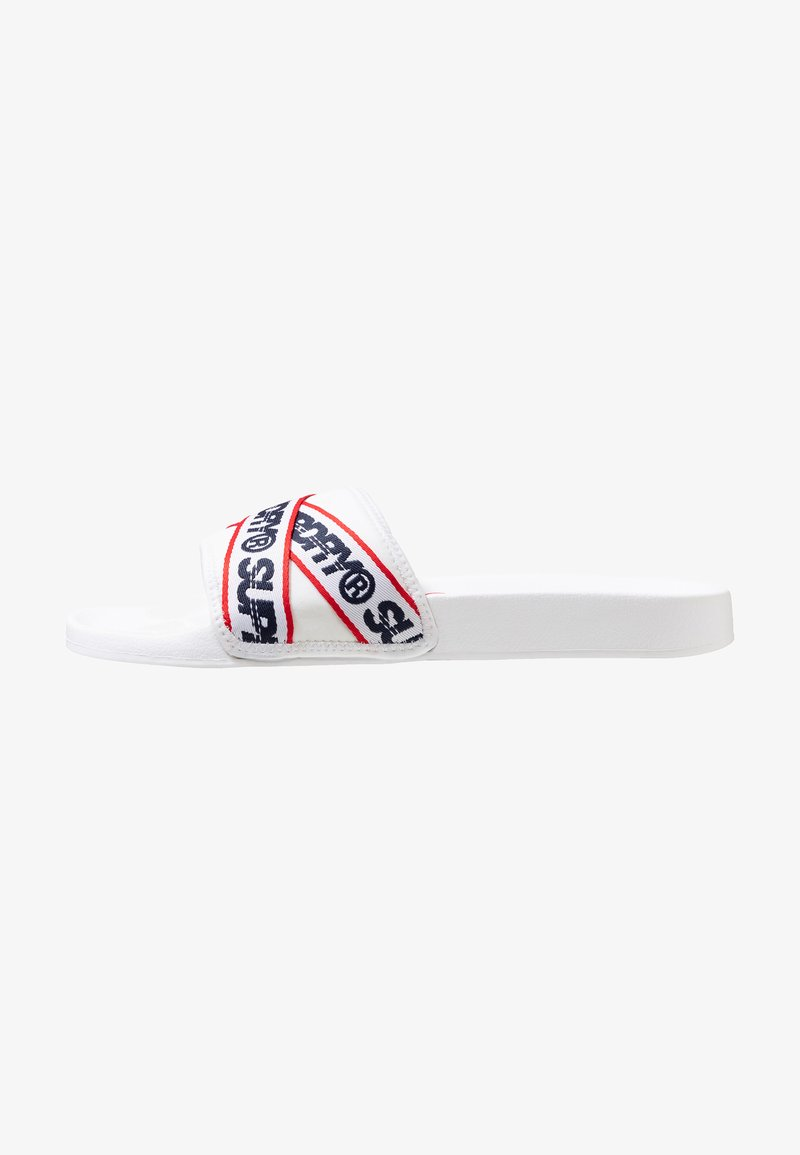 Superdry - CITY BEACH SLIDE - Mules - optic white/dark navy/super red