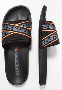 Superdry - CITY BEACH SLIDE - Mules - black/charcoal/hazard orange - 1