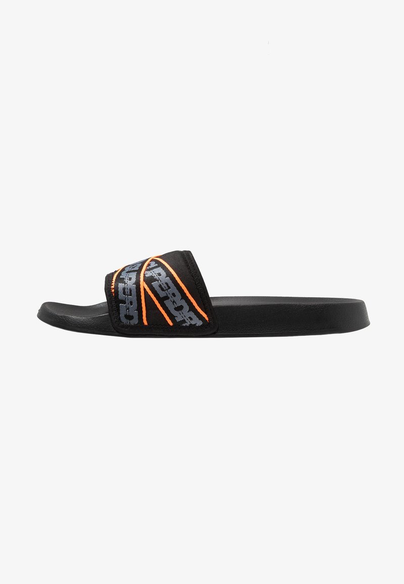Superdry - CITY BEACH SLIDE - Sandaler - black/charcoal/hazard orange