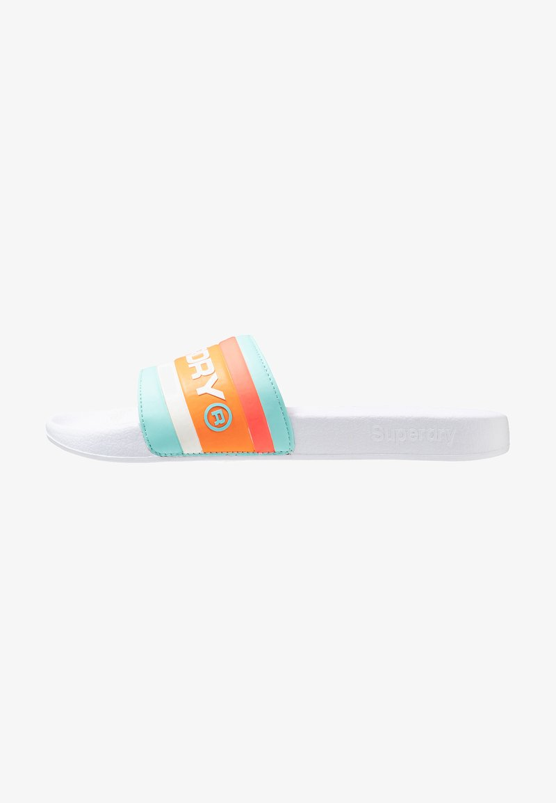 Superdry - RETRO COLOUR BLOCK POOL SLIDE - Pantolette flach - white/light blue/hazard orange