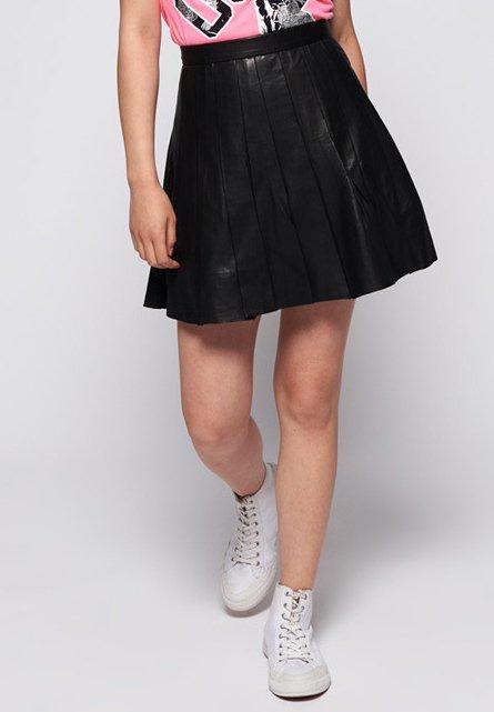 Superdry - Falda plisada - black