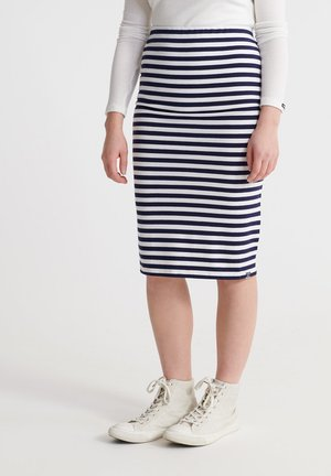 SUPERDRY SUMMER PENCIL SKIRT - Pencil skirt - navy stripe