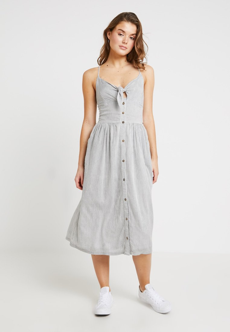Superdry - JAYDE TIE FRONT MIDI DRESS - Skjortekjole - white/black