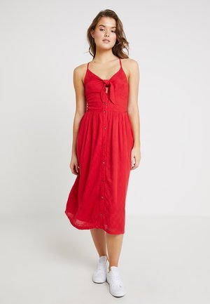 JAYDE TIE FRONT MIDI DRESS - Košilové šaty - nautical red
