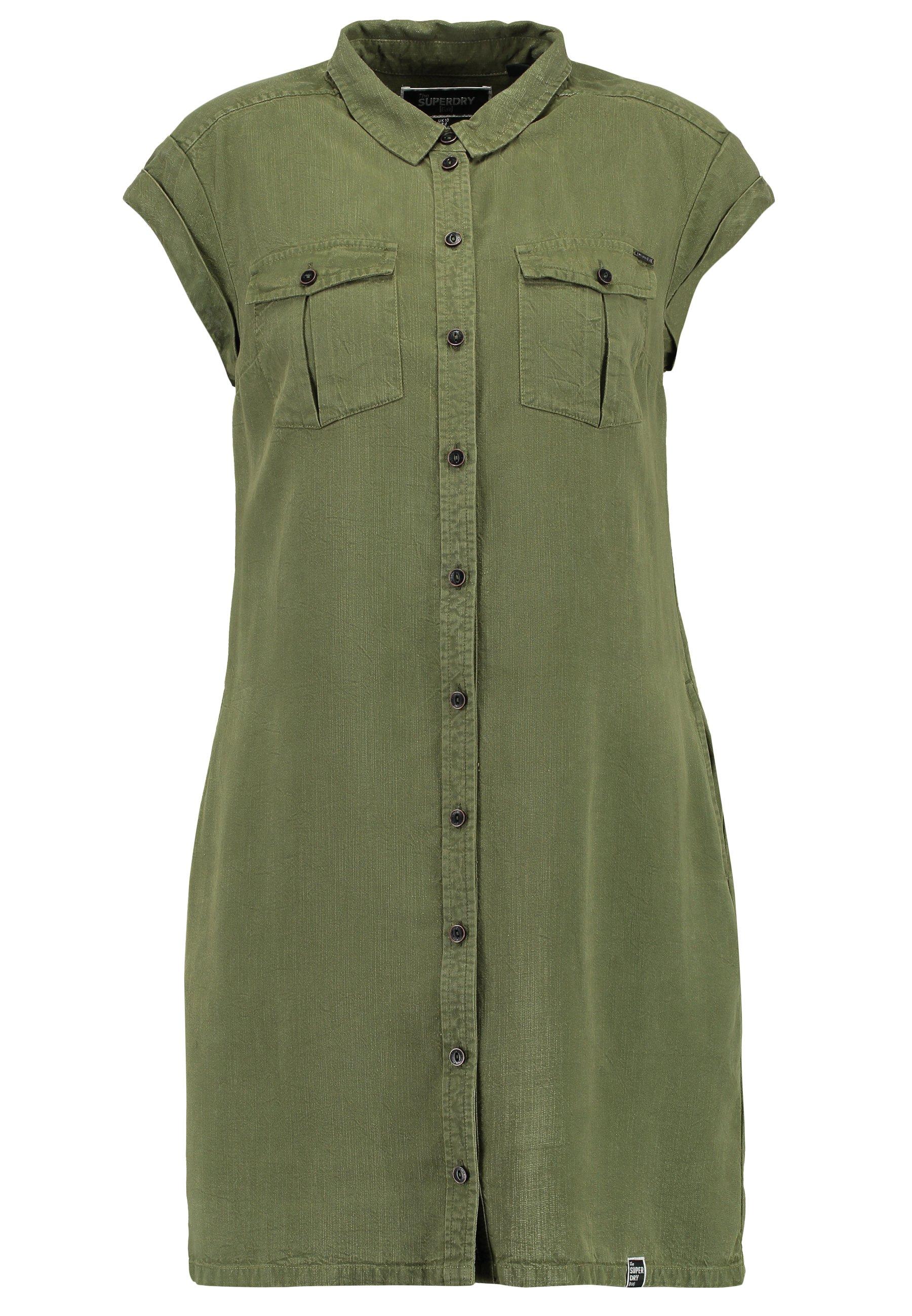Superdry NINA SHIRTDRESS Robe chemise washed khaki