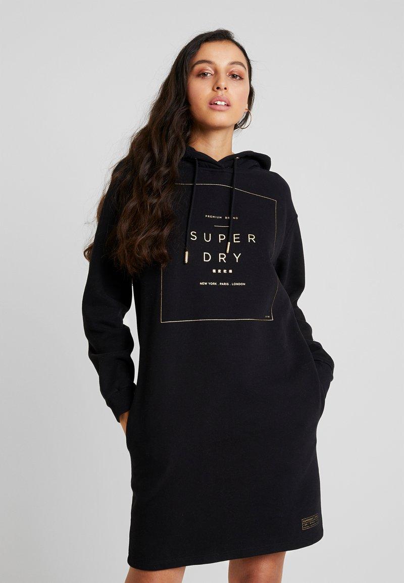 Superdry - OVERSIZED HOODED DRESS - Denní šaty - black