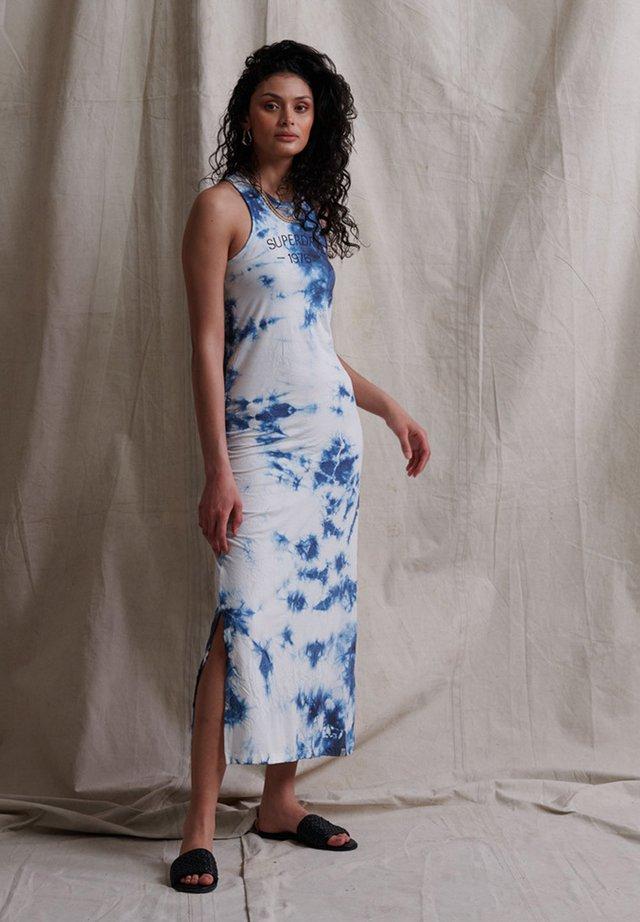 Vestido informal - washed indigo tie dye