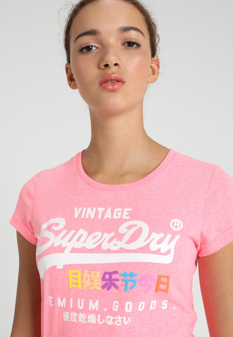 Soft Pink Marl Vintage Logo Floral Infill Tee  Superdry  T-Skjorter - Dameklær er billig
