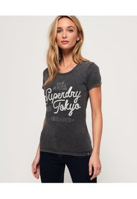 Superdry - T-shirt imprimé - acid-wash black - 0
