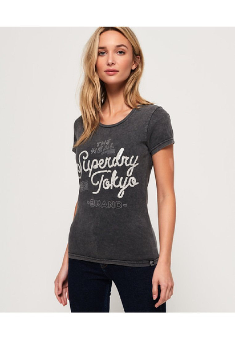 Superdry - T-shirt imprimé - acid-wash black