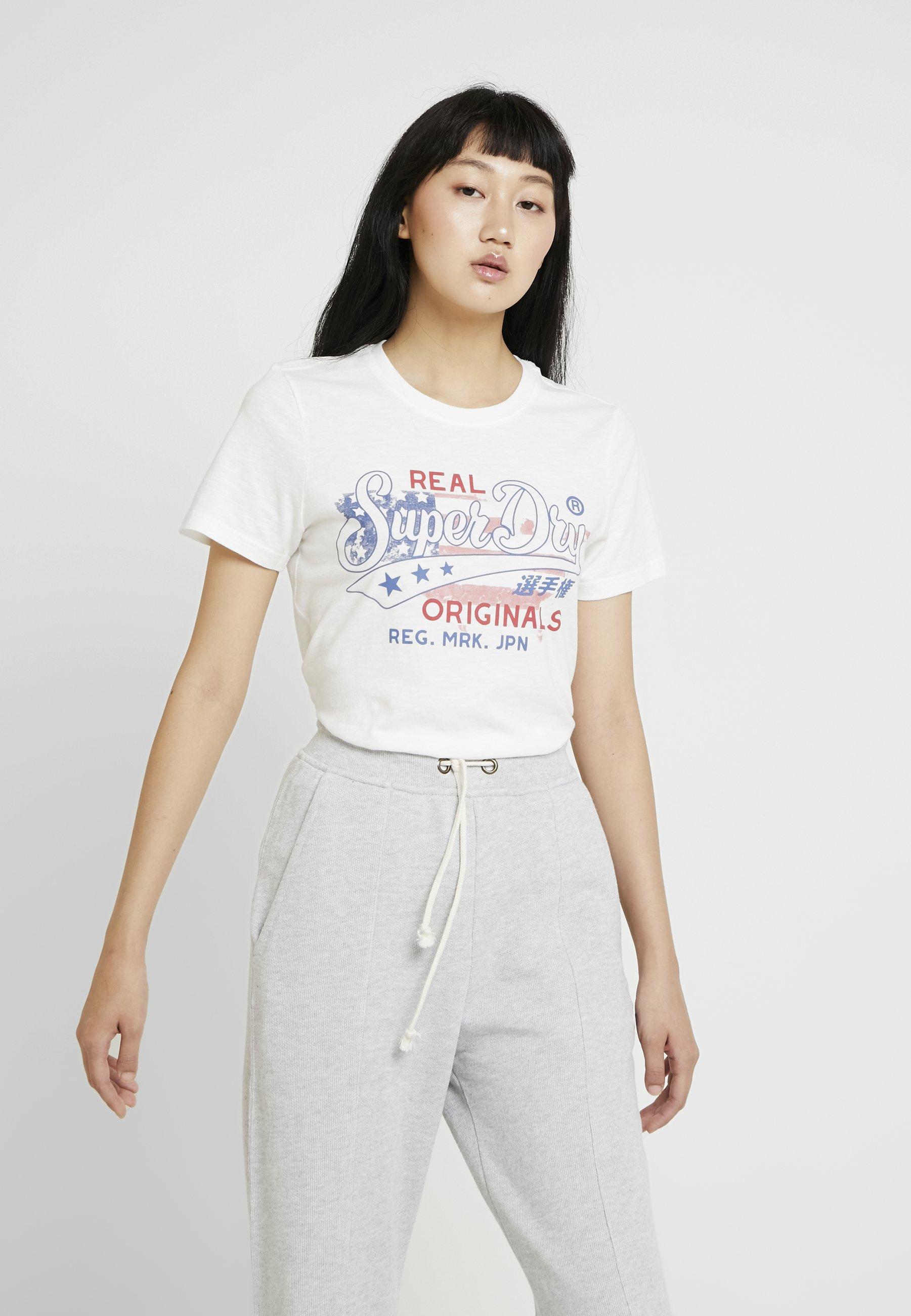 Originals Slub TeeT White shirt Superdry Entry Real Flag Imprimé Chalk Y76gbfy