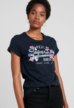 LOGO FLORAL ENTRY TEE - T-shirt imprimé - eclipse navy