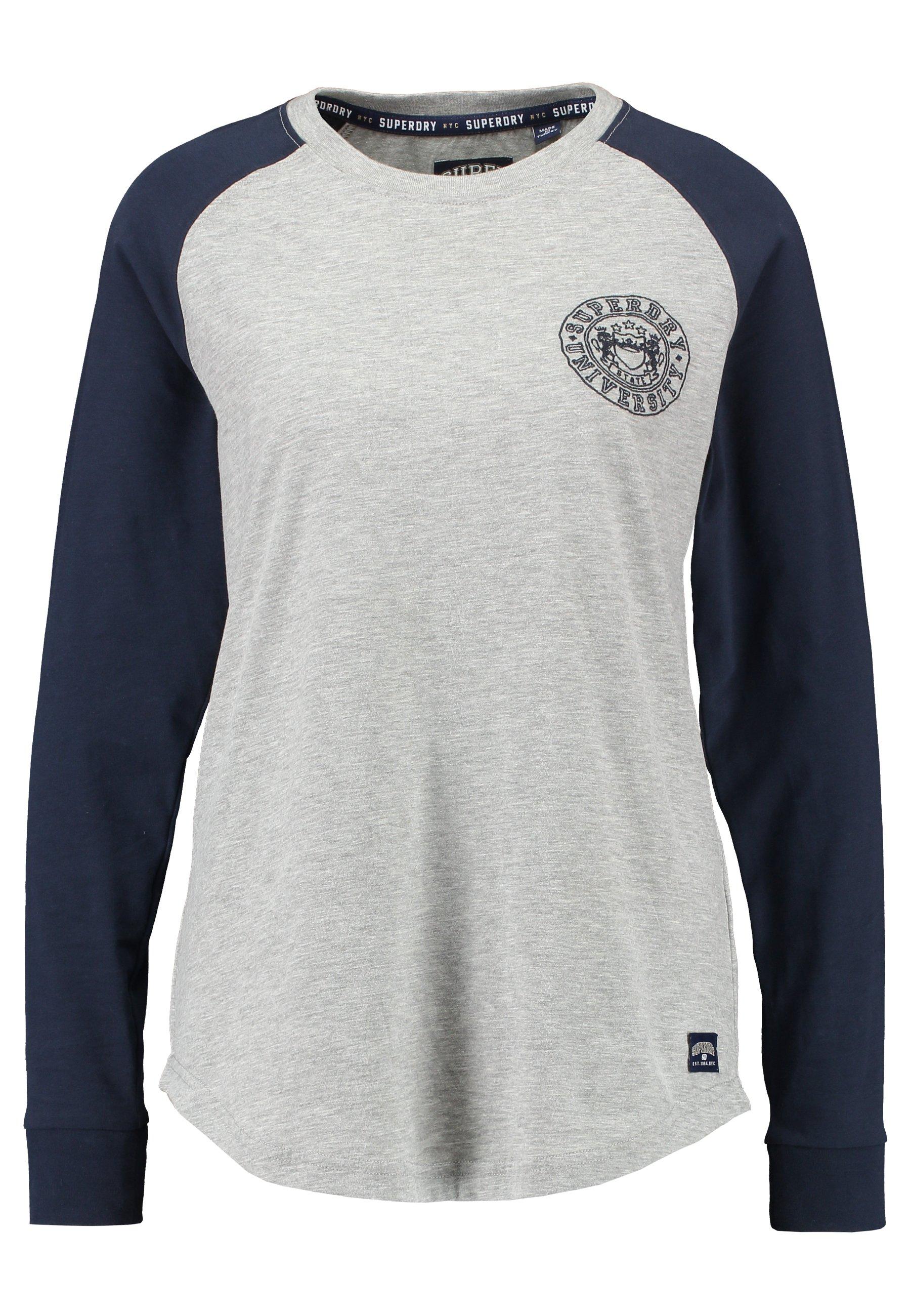 Superdry COLLEGE RAGLAN GRAPHIC - Bluzka z długim rękawem - spirit grey