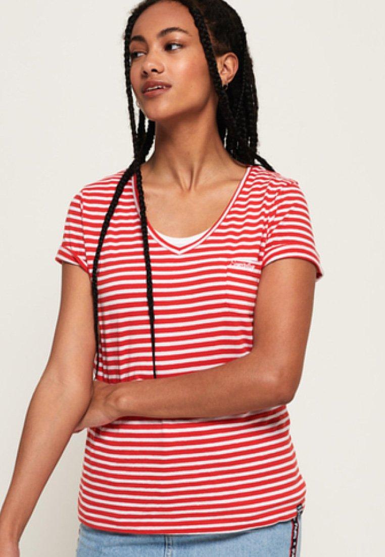 Superdry - ORANGE LABEL - Print T-shirt - red stripe