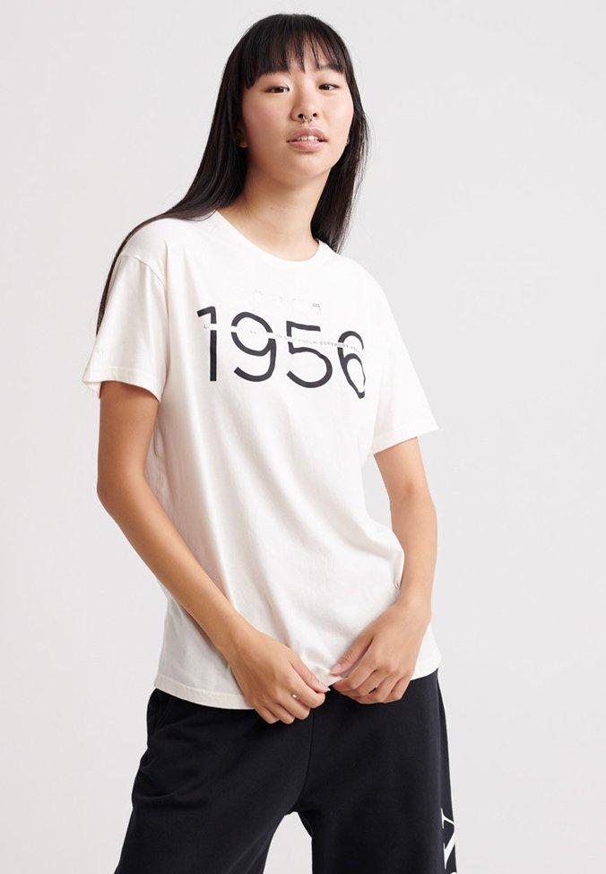 Superdry - PORTLAND - Print T-shirt - soft white