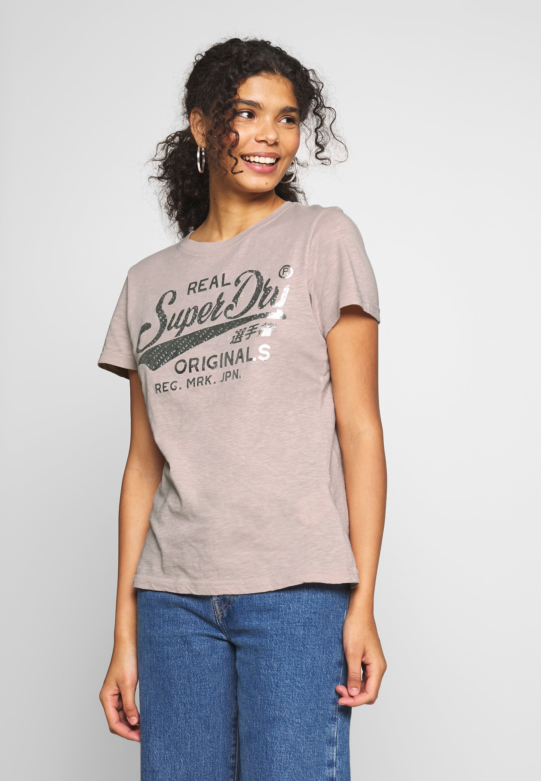 Superdry TEXT INFILL ENTRY TEE - T-shirts med print - silver cloud