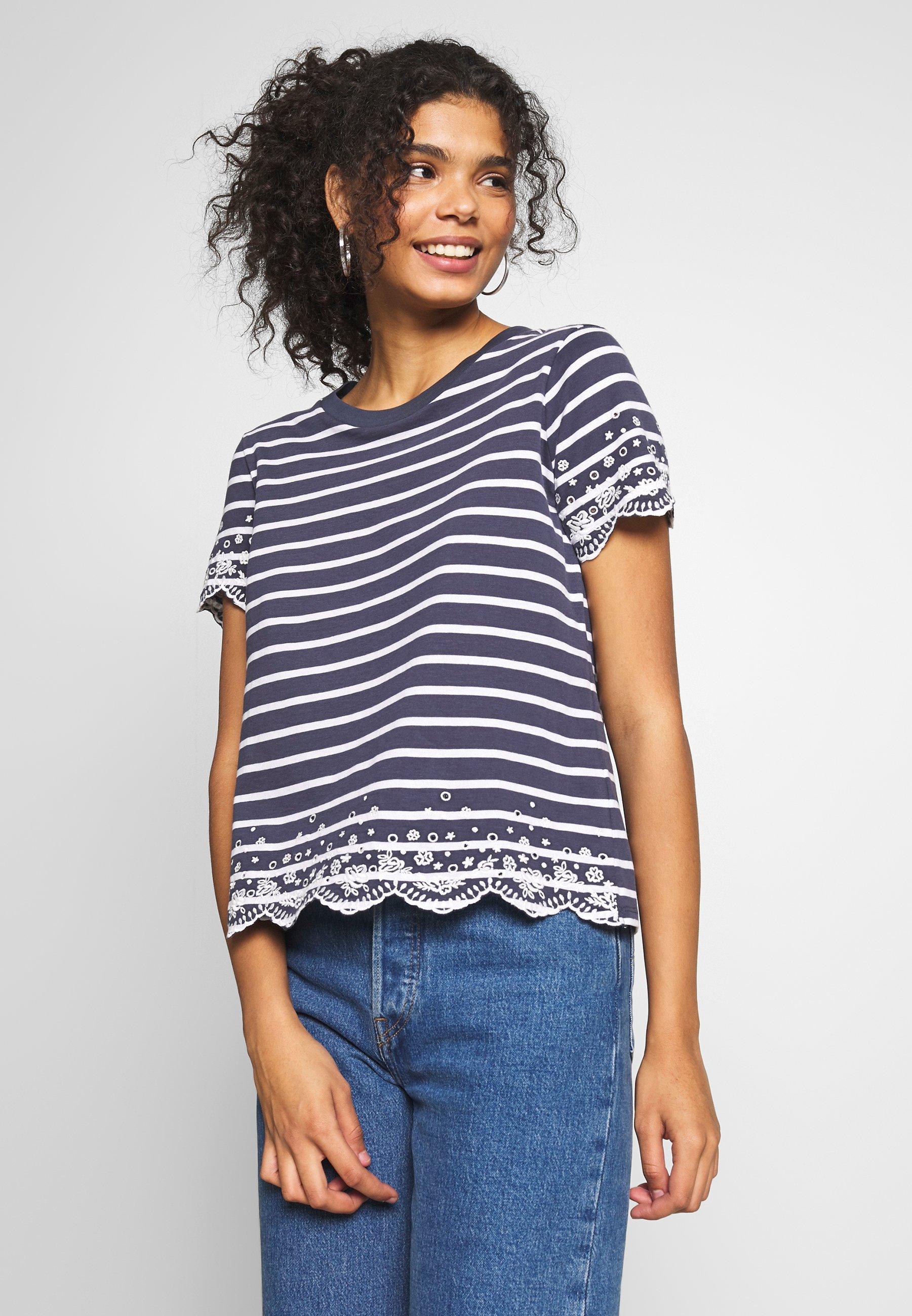 Superdry SUMMER SCHIFFLI TEE - T-shirts med print - navy