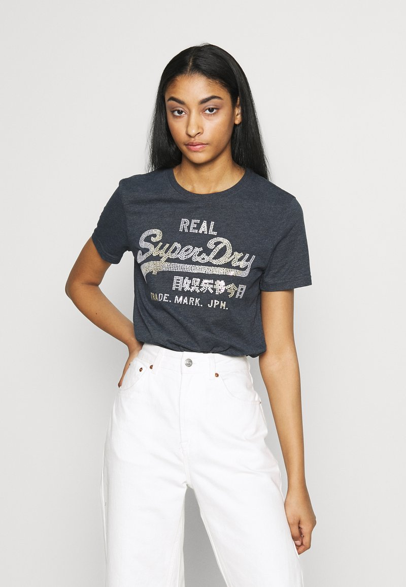 Superdry - STITCH ENTRY TEE - T-shirts med print - eclipse navy marl