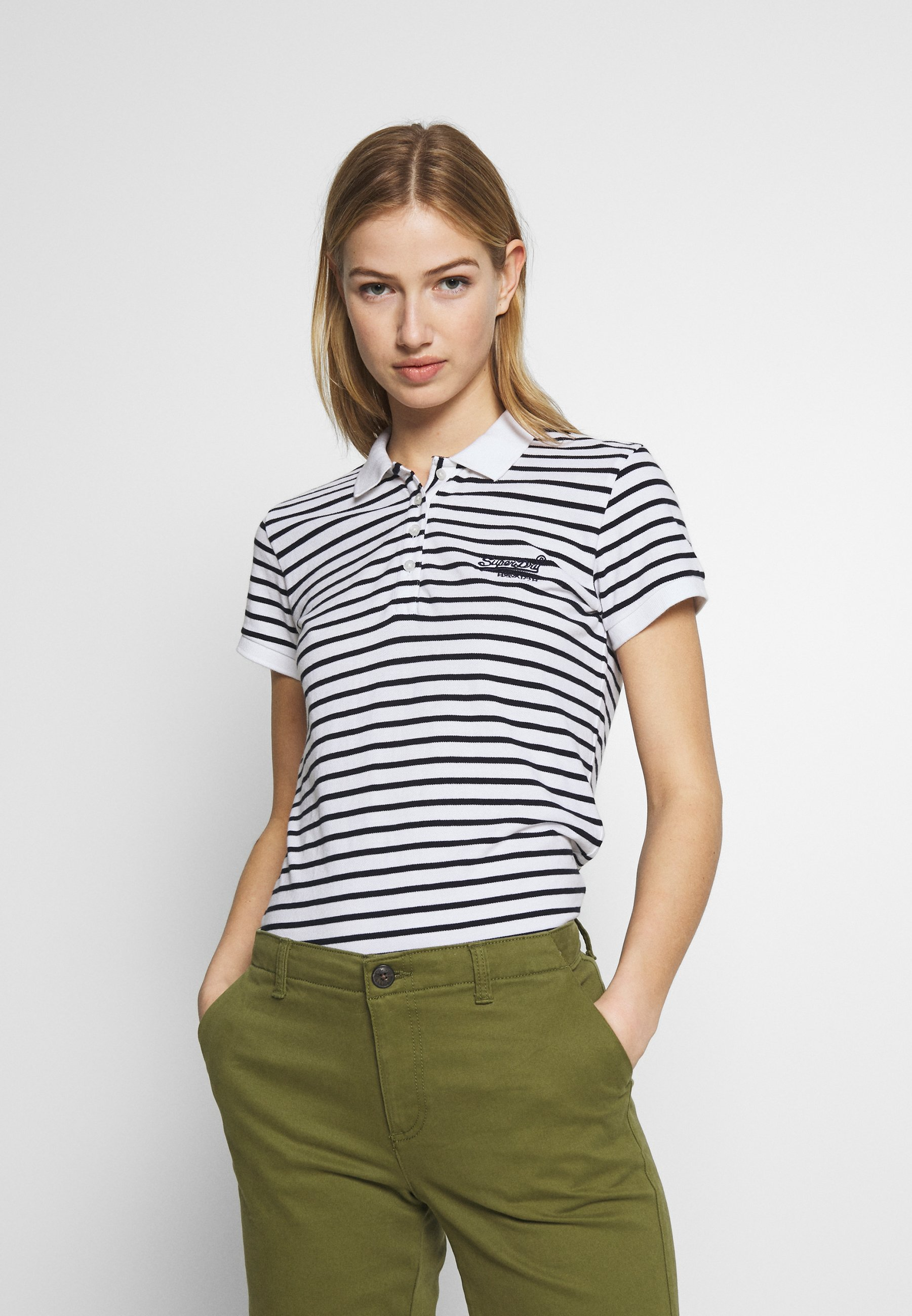 Superdry STRIPE - Poloskjorter - white