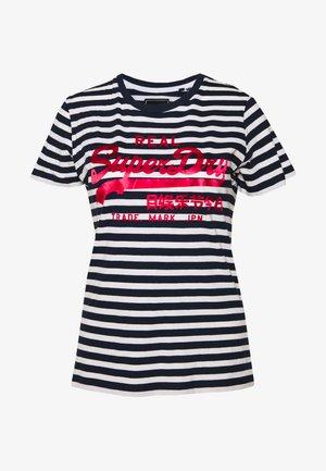 STRIPE ENTRY TEE - Print T-shirt - navy