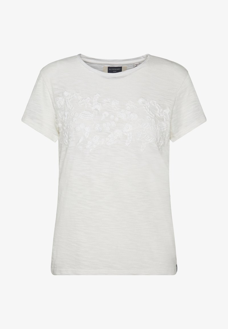Superdry TINSLEY EMBROIDERY TEE - T-shirts - chalk white