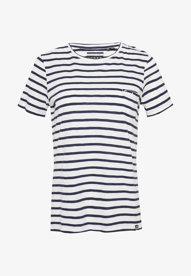 ORANGE LABEL CREW NECK TEE - T-shirt print - navy stripe