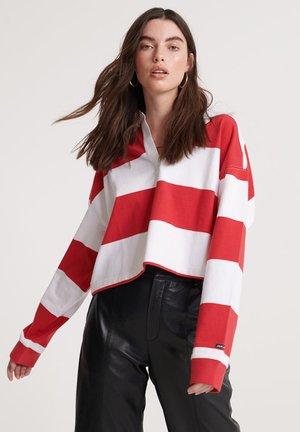 SUPERDRY ORGANIC COTTON EDIT RUGBY TOP - Koszulka polo - red stripe